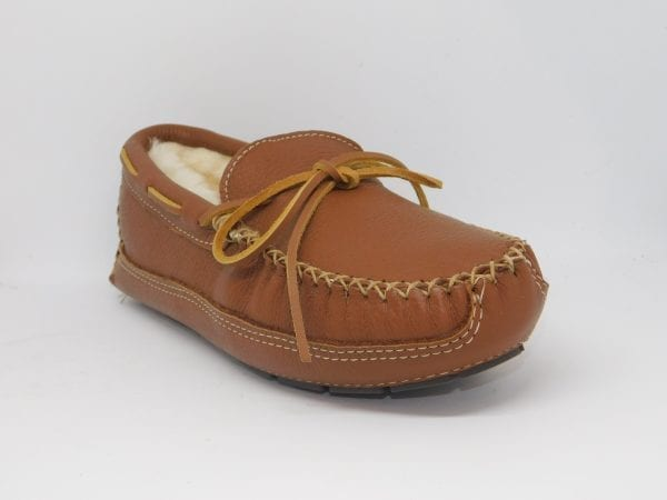 mens moosehide sheepskin moccasin carmel 3758