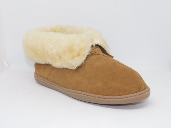 womens slippers sheepskin ankle boot tan 3351