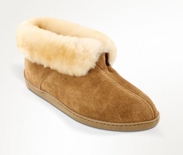 mens slippers sheepskin ankle boot tan 3751