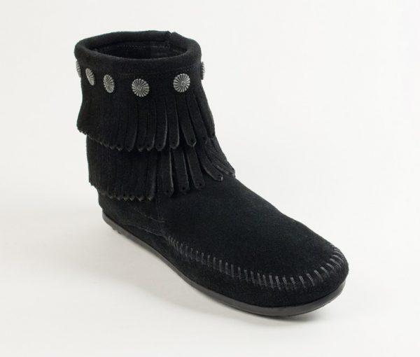 womens boots double fringe black 699