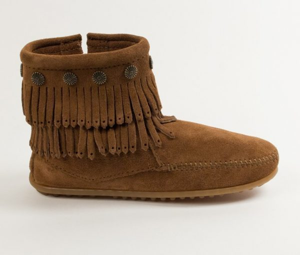womens boots double fringe dusty brown 693