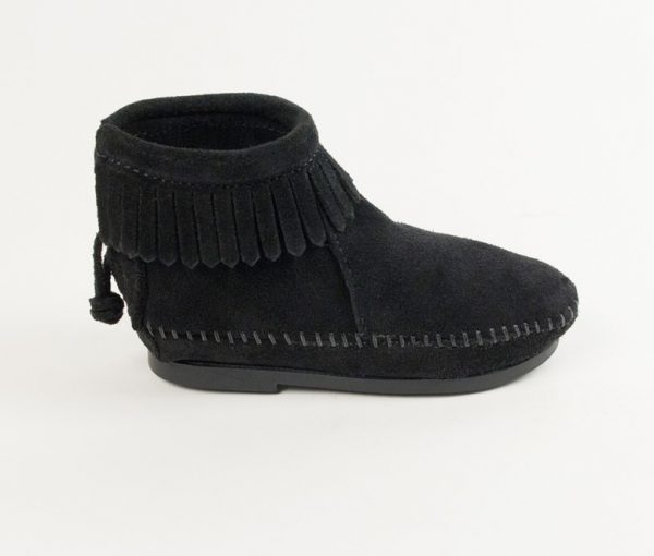 kids boots back zip black 2289