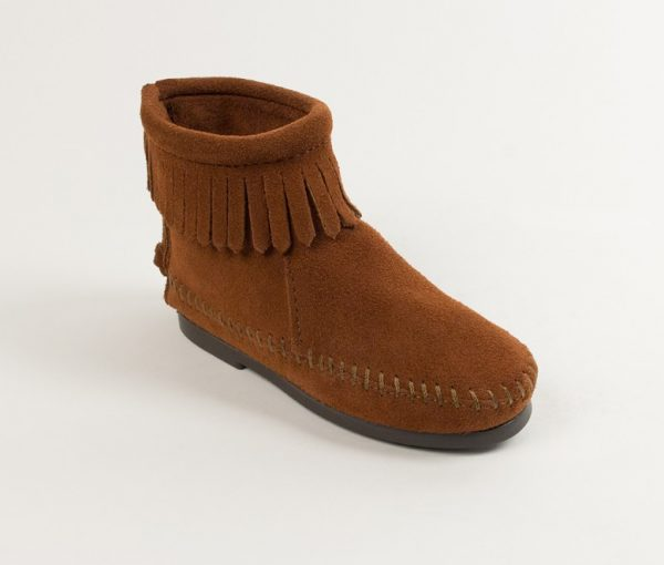 kids boots back zip brown 2282