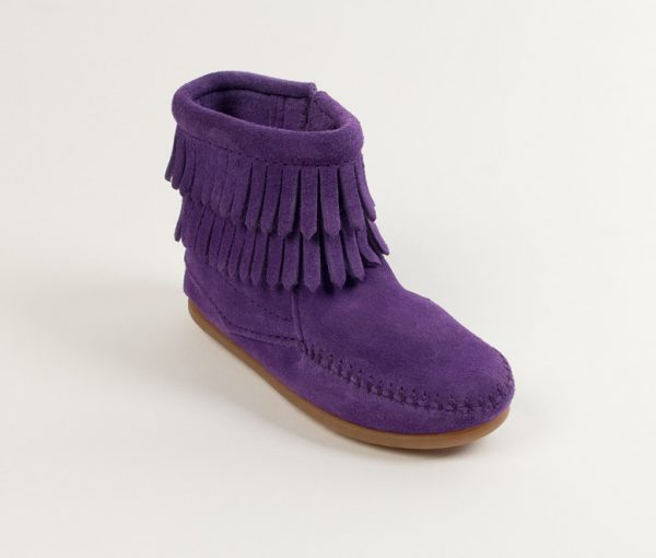 kids boots double fringe zip purple 2294s