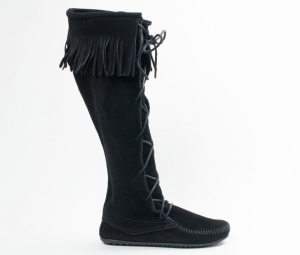 womens boots laced knee hi black 1429
